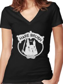 Hare Brush Logo - White Women's Fitted V-Neck T-Shirt