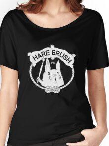 Hare Brush Logo - White Women's Relaxed Fit T-Shirt