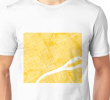 Detroit Map - Yellow Unisex T-Shirt