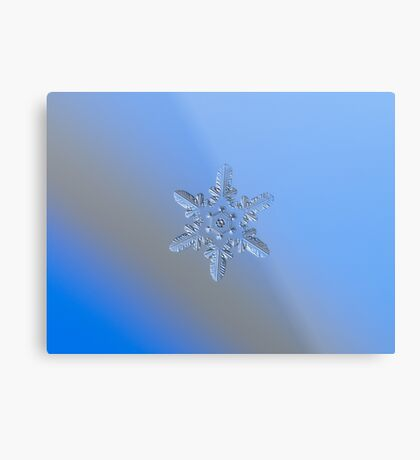 Heart-powered star (alt), real snowflake macro photo Metal Print