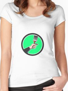 Painter Hand Holding Paintbrush Circle Retro Women's Fitted Scoop T-Shirt