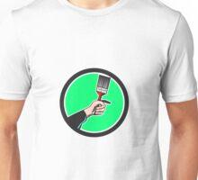 Painter Hand Holding Paintbrush Circle Retro Unisex T-Shirt