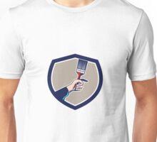 Painter Hand Holding Paintbrush Crest Retro Unisex T-Shirt