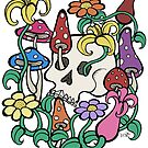 Mushrooms, Flowers, and a Skull by Brett Gilbert