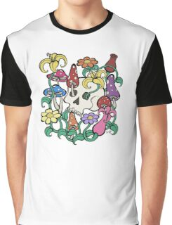 Mushrooms, Flowers, and a Skull Graphic T-Shirt