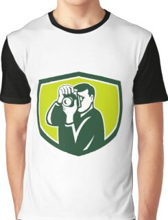 Photographer Shooting DSLR Camera Crest Retro Graphic T-Shirt