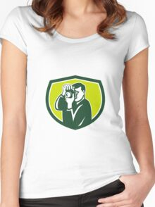 Photographer Shooting DSLR Camera Crest Retro Women's Fitted Scoop T-Shirt