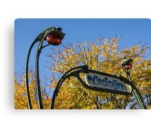 Famous Paris Metropolitain Sign with Golden Trees Background - Take Two Canvas Print
