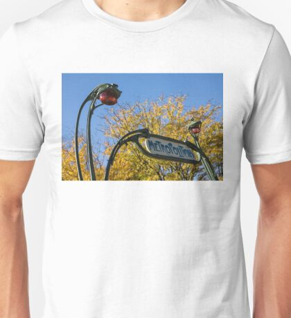 Famous Paris Metropolitain Sign with Golden Trees Background - Take Two Unisex T-Shirt