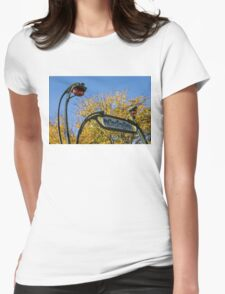 Famous Paris Metropolitain Sign with Golden Trees Background - Take Two Womens Fitted T-Shirt