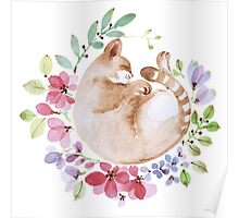 Sleeping cat in a wreath Poster