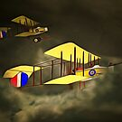 Two Royal Flying Corps Vickers Gunbuses 1914 by Dennis Melling