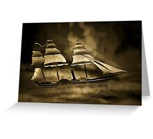 An old style digital painting of an Early American Sailing Ship/Paddle Steamer Greeting Card