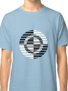 Black and White Circle Art on Blue Classic T-Shirt