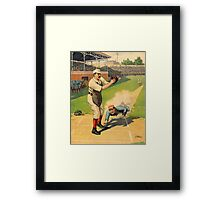 Baseball, Runner Sliding past catcher, early 1900s Framed Print