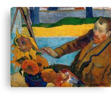 1888 - Gauguin -  Vincent van Gogh painting sunflowers Canvas Print