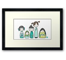 The Kokeshis and the Babushka Framed Print