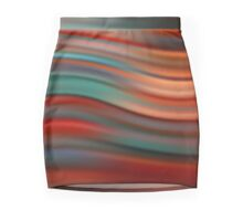 Abstract red modern wavy flowing silk, satin background, elegant smooth wave Mini Skirt