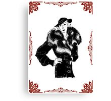 fashionable lady in fur coat Canvas Print