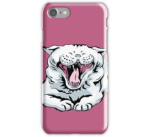 cute white cat yawns iPhone Case/Skin