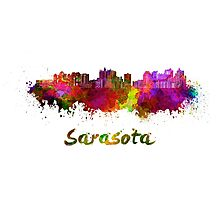 Sarasota skyline in watercolor Photographic Print