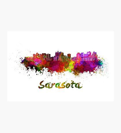 Sarasota skyline in watercolor Photographic Print