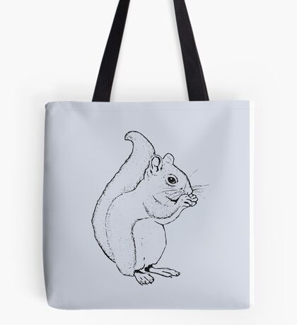Squirrel Eating: Line Drawing of Cute Squirrel Tote Bag