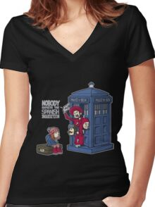 Police Box Nobody Spanish Inquisition Women's Fitted V-Neck T-Shirt