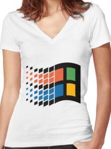 Vintage windows logo Women's Fitted V-Neck T-Shirt