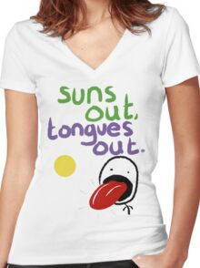 Sun's out, Tongues out Women's Fitted V-Neck T-Shirt