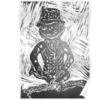 Frog Lino Cut In Black and White  Poster