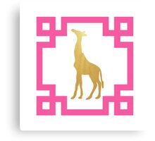 Chinoiserie Chic Preppy Gold and Pink Greek Key Giraffe Canvas Print