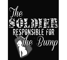 Soldier Responsible For The Bump Military Pregnant Dad To Be Army Marines Pregnancy New Baby Dog Tags Husband Wife Photographic Print