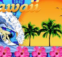 Hawaiian Surfing Blue Tiki Sticker