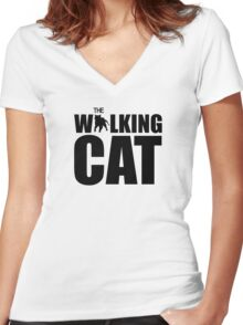 The Walking Cat Women's Fitted V-Neck T-Shirt