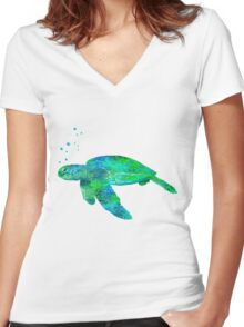 Sea Turtle And Bubbles Women's Fitted V-Neck T-Shirt