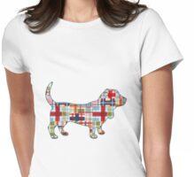 Madras Basset Hound Womens Fitted T-Shirt