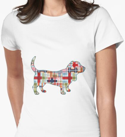 Madras Basset Hound Womens Fitted T-Shirt