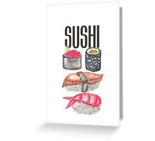 Cute Sushi Typography and Watercolor Sushi Greeting Card