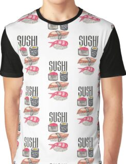 Cute Sushi Typography and Watercolor Sushi Graphic T-Shirt