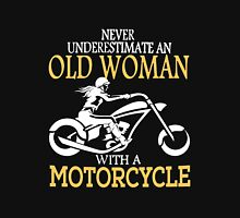 never underestimate an old woman with a motorcycle Women's Fitted V-Neck T-Shirt