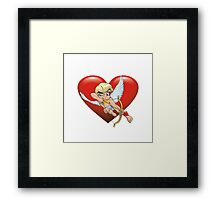 Cartoon Cupid Heart Framed Print