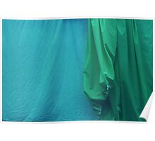 Two Sheets Abstract in AquaGreen Poster