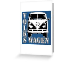 CAMPER, Volkswagen, Van, VW, Split screen, 1966, Volkswagen, Kombi, North America, on Blue Greeting Card