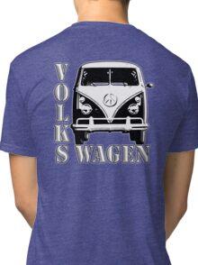 VW, CAMPER, Volkswagen, Van, Split screen, 1966, Volkswagen, Kombi, North America, on Blue Tri-blend T-Shirt