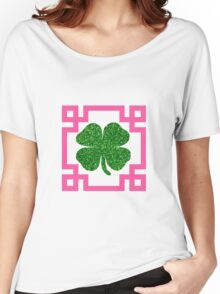 Four Leaf Clover Glitter Greek Key Pink Women's Relaxed Fit T-Shirt