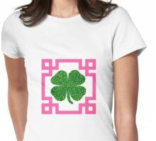 Four Leaf Clover Glitter Greek Key Pink Womens Fitted T-Shirt