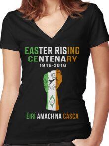 Easter Rising Centenary T Shirt 1916 - 2016 Women's Fitted V-Neck T-Shirt
