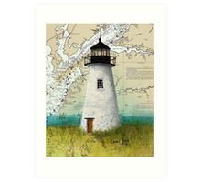 Pooles Island Lighthouse MD Nautical Chart Map Cathy Peek Art Print