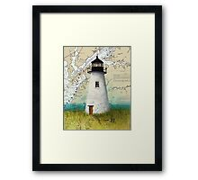 Pooles Island Lighthouse MD Nautical Chart Map Cathy Peek Framed Print
